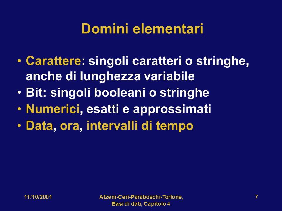 11/10/2001Atzeni-Ceri-Paraboschi-Torlone, Basi di dati, Capitolo 4 8 Definizione di domini Istruzione CREATE DOMAIN: definisce un dominio (semplice), utilizzabile in definizioni di relazioni, anche con vincoli e valori di default