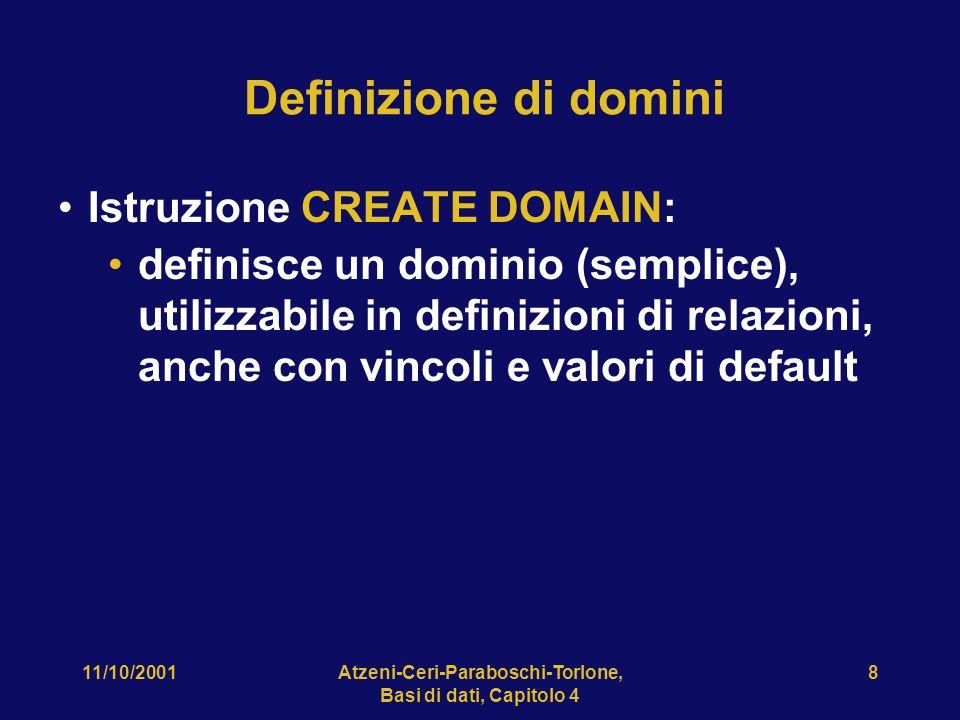 11/10/2001Atzeni-Ceri-Paraboschi-Torlone, Basi di dati, Capitolo 4 19 CREATE TABLE, esempio CREATE TABLE Infrazioni( Codice CHAR(6) NOT NULL PRIMARY KEY, Data DATE NOT NULL, Vigile INTEGER NOT NULL REFERENCES Vigili(Matricola), Provincia CHAR(2), Numero CHAR(6), FOREIGN KEY(Provincia, Numero) REFERENCES Auto(Provincia, Numero) )