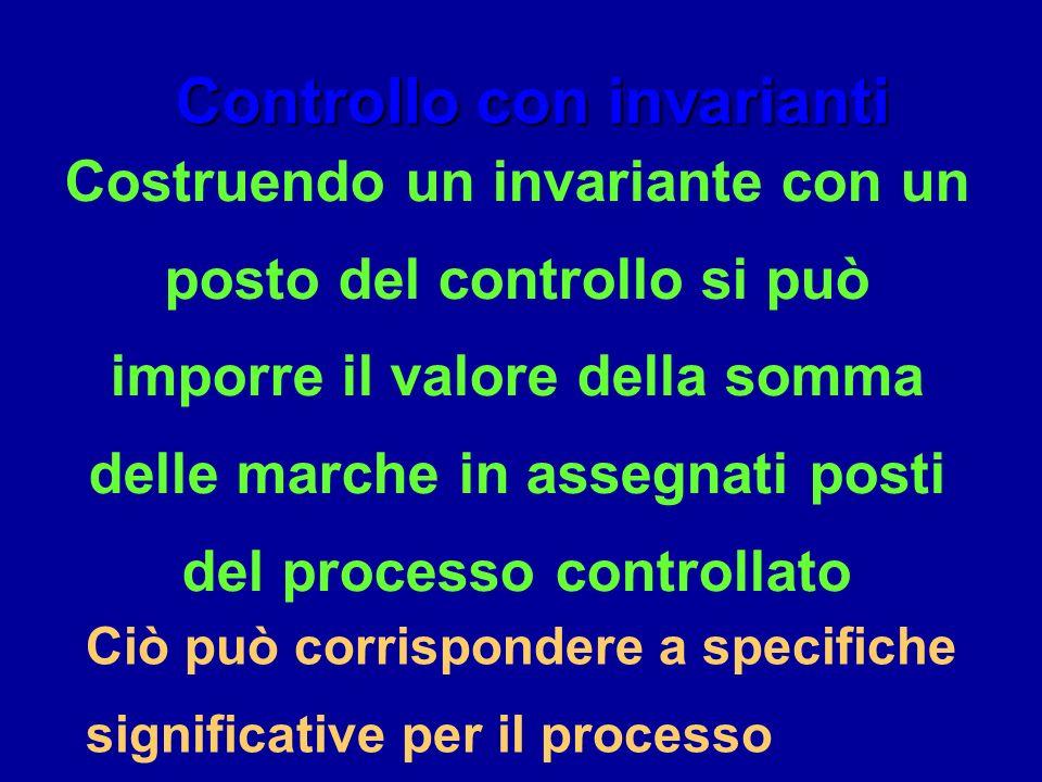 Controllo con invarianti Costruendo un invariante con un posto del controllo si può imporre il valore della somma delle marche in assegnati posti del