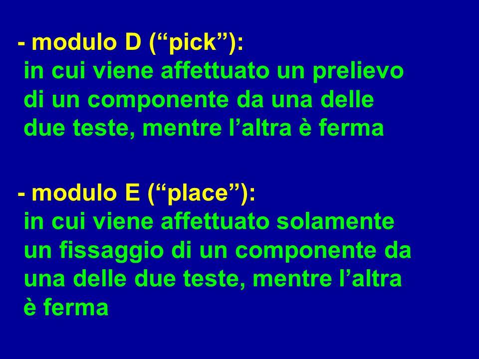 - modulo D (pick): in cui viene affettuato un prelievo di un componente da una delle due teste, mentre laltra è ferma - modulo E (place): in cui viene