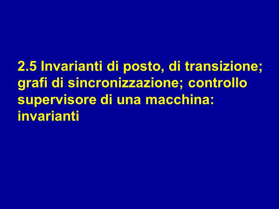 2.5 Invarianti di posto, di transizione; grafi di sincronizzazione; controllo supervisore di una macchina: invarianti