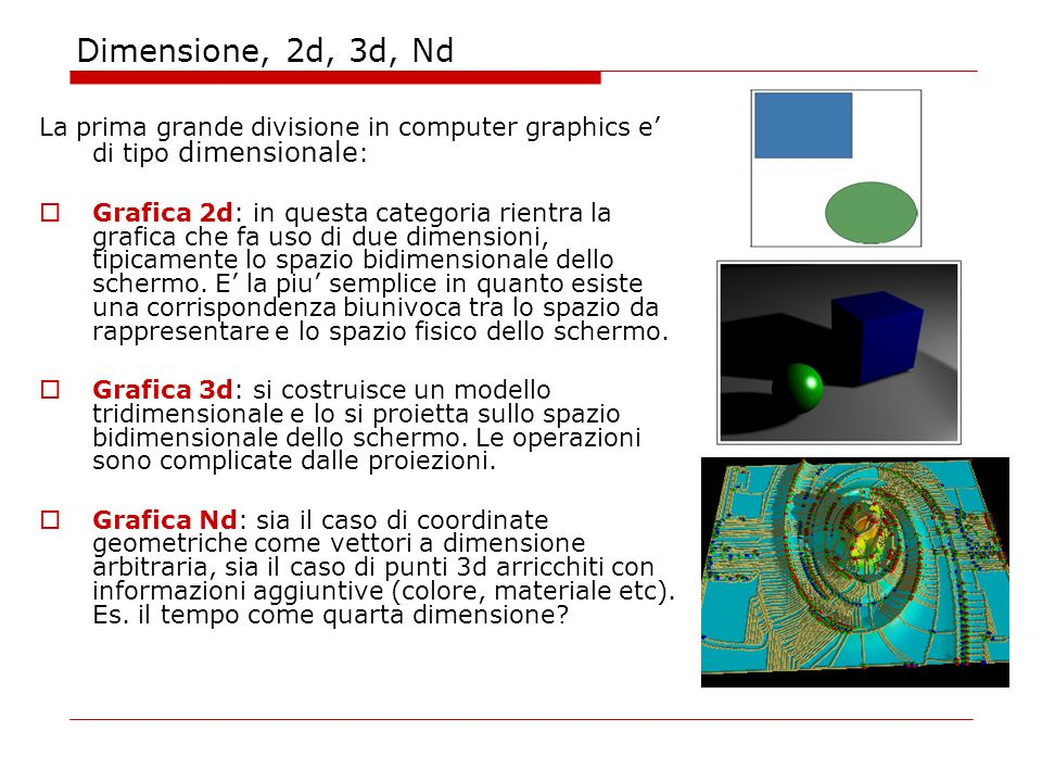 Dimensione, 2d, 3d, Nd La prima grande divisione in computer graphics e di tipo dimensionale : Grafica 2d: in questa categoria rientra la grafica che fa uso di due dimensioni, tipicamente lo spazio bidimensionale dello schermo.