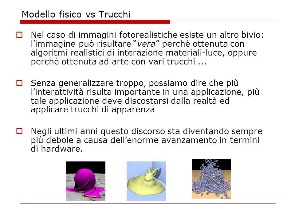 Modello fisico vs Trucchi Nel caso di immagini fotorealistiche esiste un altro bivio: limmagine può risultare vera perchè ottenuta con algoritmi realistici di interazione materiali-luce, oppure perchè ottenuta ad arte con vari trucchi...