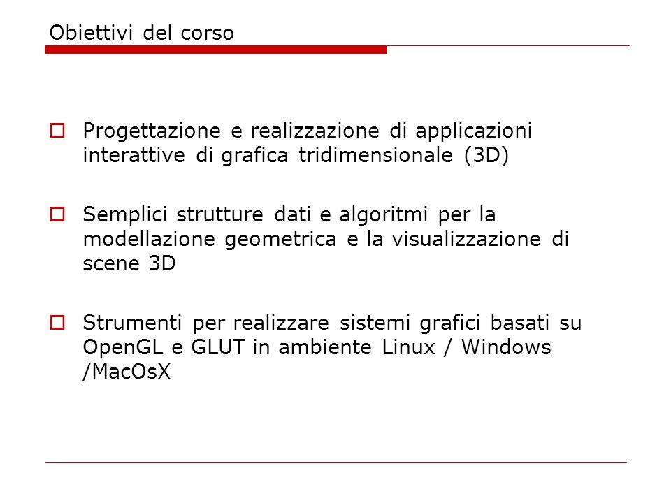 Obiettivi del corso Progettazione e realizzazione di applicazioni interattive di grafica tridimensionale (3D) Semplici strutture dati e algoritmi per la modellazione geometrica e la visualizzazione di scene 3D Strumenti per realizzare sistemi grafici basati su OpenGL e GLUT in ambiente Linux / Windows /MacOsX