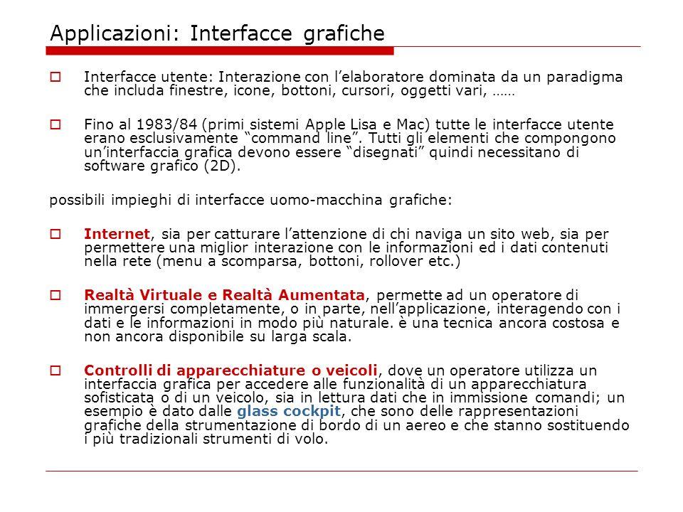 Applicazioni: Interfacce grafiche Interfacce utente: Interazione con lelaboratore dominata da un paradigma che includa finestre, icone, bottoni, cursori, oggetti vari, …… Fino al 1983/84 (primi sistemi Apple Lisa e Mac) tutte le interfacce utente erano esclusivamente command line.