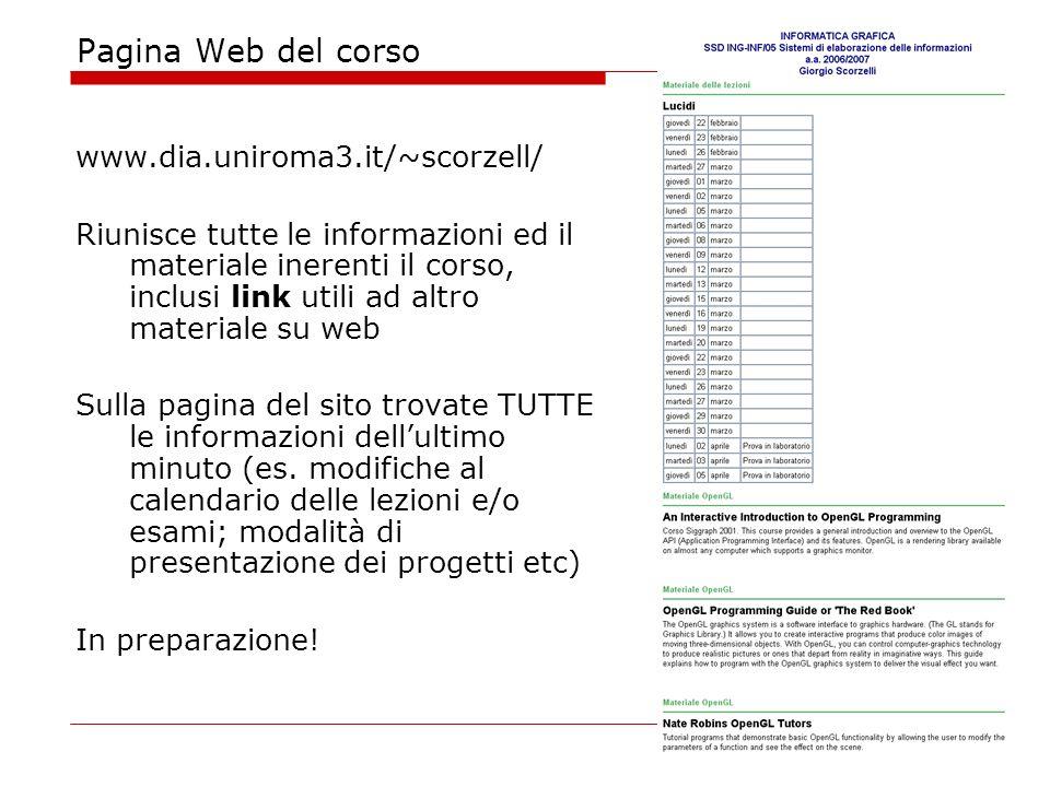 Pagina Web del corso www.dia.uniroma3.it/~scorzell/ Riunisce tutte le informazioni ed il materiale inerenti il corso, inclusi link utili ad altro materiale su web Sulla pagina del sito trovate TUTTE le informazioni dellultimo minuto (es.