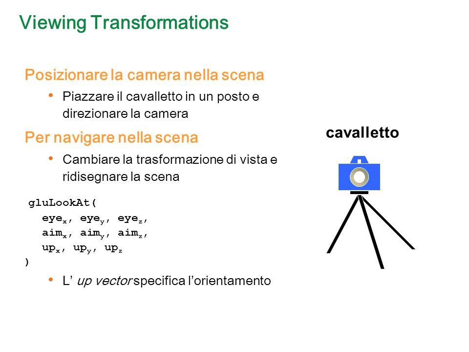 Viewing Transformations Posizionare la camera nella scena Piazzare il cavalletto in un posto e direzionare la camera Per navigare nella scena Cambiare la trasformazione di vista e ridisegnare la scena gluLookAt( eye x, eye y, eye z, aim x, aim y, aim z, up x, up y, up z ) L up vector specifica lorientamento cavalletto
