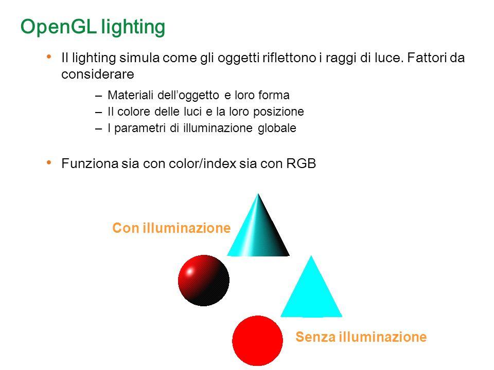 OpenGL lighting Il lighting simula come gli oggetti riflettono i raggi di luce.