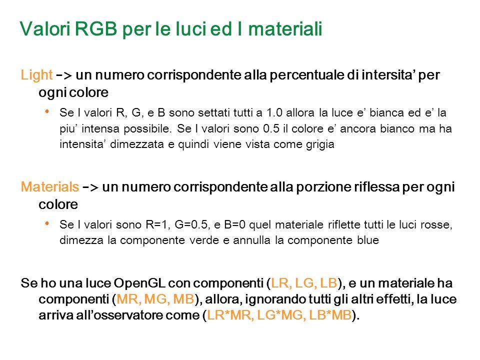 Valori RGB per le luci ed I materiali Light -> un numero corrispondente alla percentuale di intersita per ogni colore Se I valori R, G, e B sono settati tutti a 1.0 allora la luce e bianca ed e la piu intensa possibile.