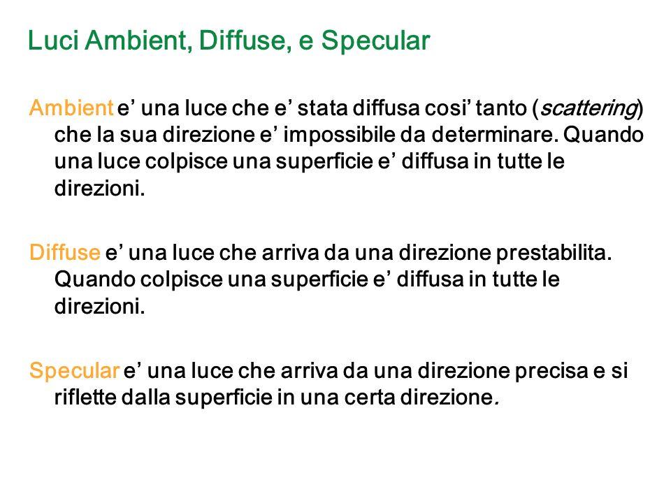Luci Ambient, Diffuse, e Specular Ambient e una luce che e stata diffusa cosi tanto (scattering) che la sua direzione e impossibile da determinare.