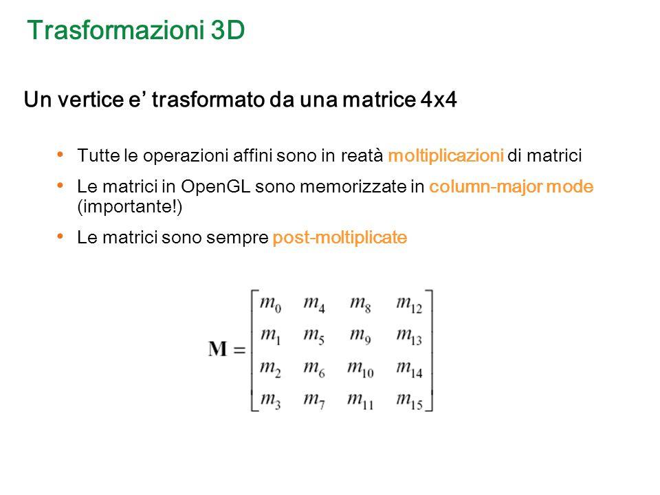 Trasformazioni 3D Un vertice e trasformato da una matrice 4x4 Tutte le operazioni affini sono in reatà moltiplicazioni di matrici Le matrici in OpenGL sono memorizzate in column-major mode (importante!) Le matrici sono sempre post-moltiplicate