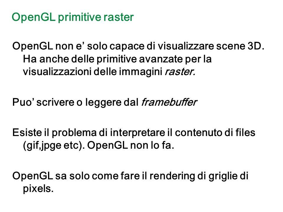 OpenGL primitive raster OpenGL non e solo capace di visualizzare scene 3D.