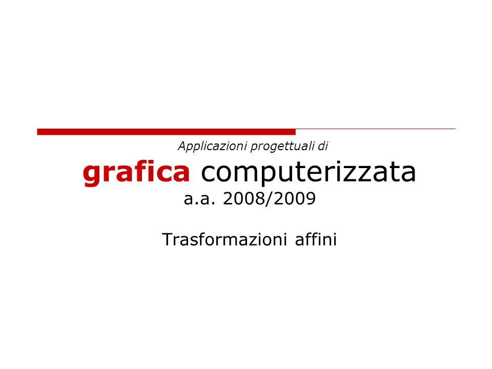 Applicazioni progettuali di grafica computerizzata a.a. 2008/2009 Trasformazioni affini