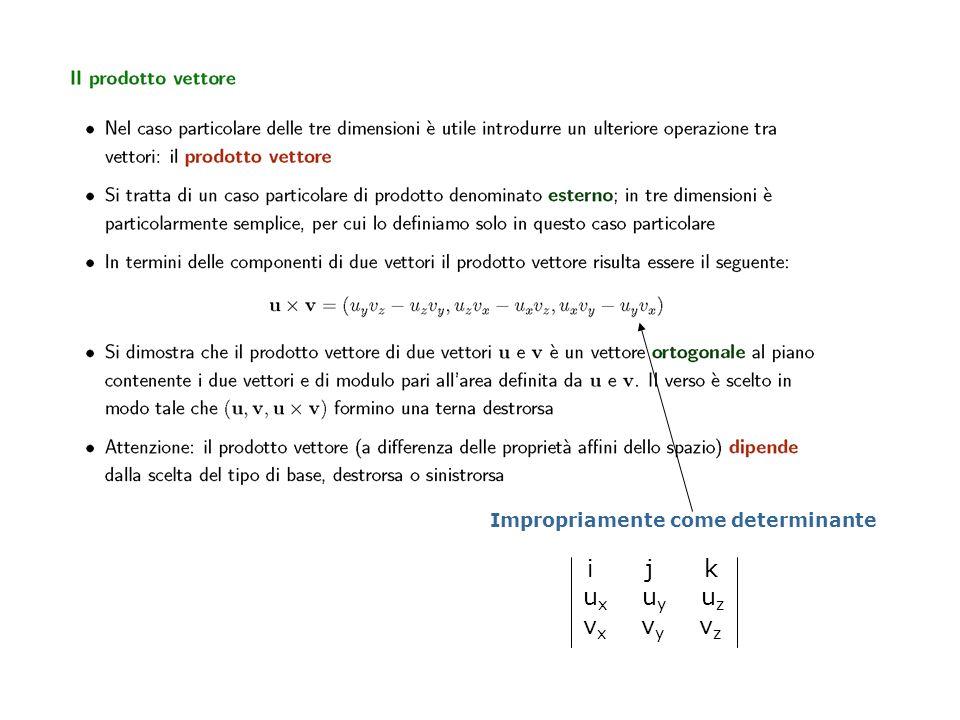 Impropriamente come determinante i j k u x u y u z v x v y v z