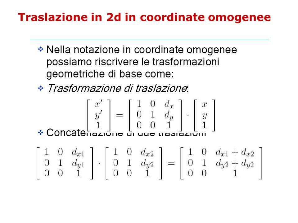 Traslazione in 2d in coordinate omogenee