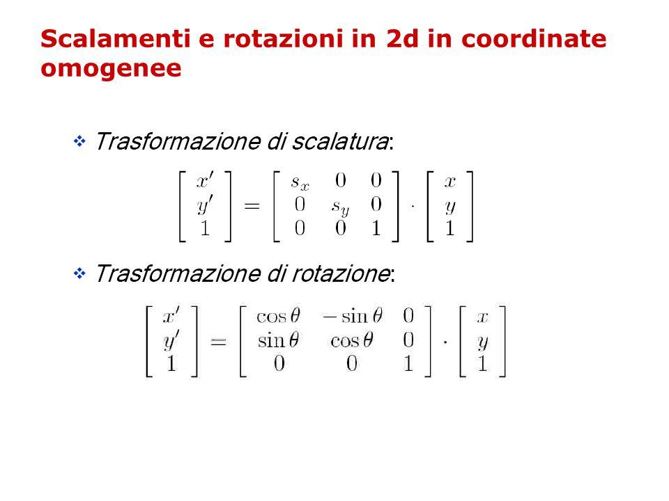 Scalamenti e rotazioni in 2d in coordinate omogenee