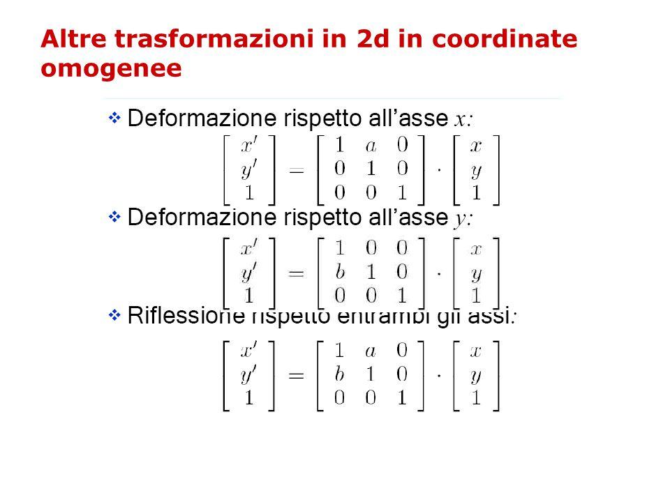 Altre trasformazioni in 2d in coordinate omogenee