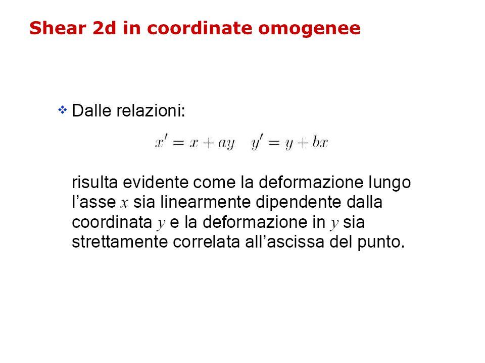 Shear 2d in coordinate omogenee
