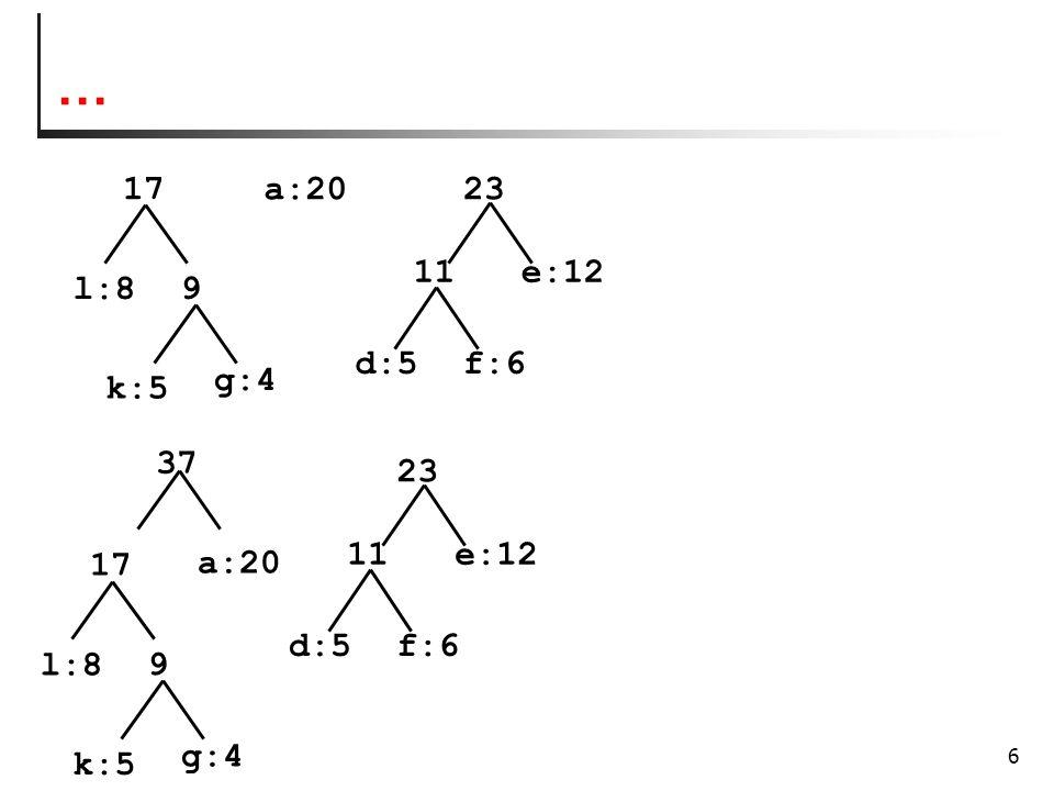 7 codifica 37 17 l:8 k:5 g:4 9 a:20 23 f:6d:5 11e:12 60 0 1 0 0 0 0 1 1 1 1 10 a = 01 d = 100 e = 11 f = 101 g = 0011 k = 0010 l = 000 codifica Numero di bit complessivi con Huffman 2*20 + 3*5 + 2*12 + 3*6 + 4*4 + 4*5 + 3*8 = 157 Numero di bit complessivi con La codifica a lunghezza fissa: 3*60 =180 Percentuale di risparmio: 12,8%