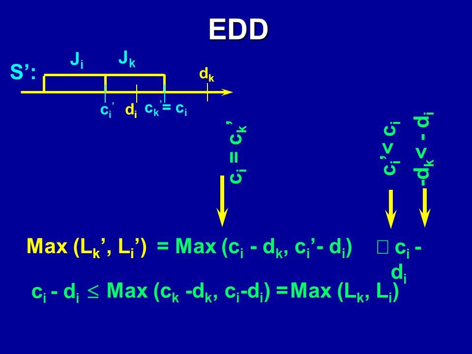 EDD min S n Max i L i 1 JiJi S ott. JkJk d k > d i cici ckck didi dkdk c k = c i c i didi S JiJi JkJk