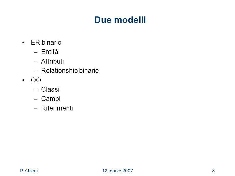 P. Atzeni12 marzo 20073 Due modelli ER binario –Entità –Attributi –Relationship binarie OO –Classi –Campi –Riferimenti