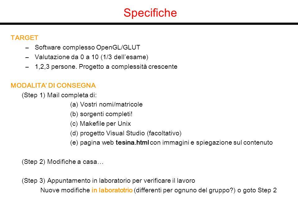Specifiche TARGET –Software complesso OpenGL/GLUT –Valutazione da 0 a 10 (1/3 dellesame) –1,2,3 persone. Progetto a complessità crescente MODALITA DI