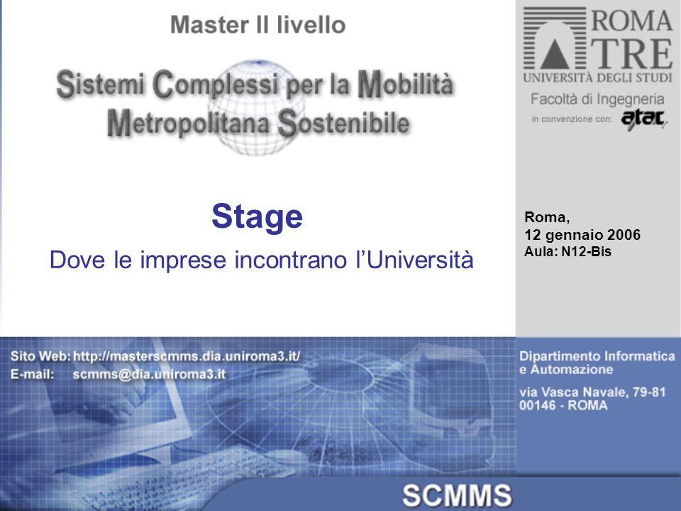 Stage Dove le imprese incontrano lUniversità Roma, 12 gennaio 2006 Aula: N12-Bis