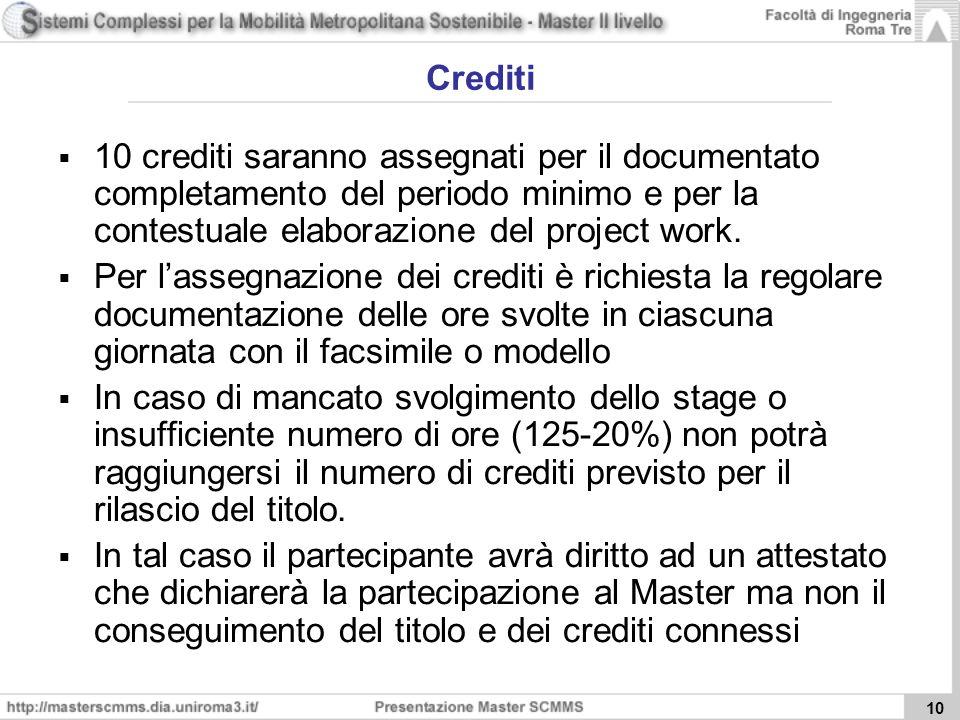 10 Crediti 10 crediti saranno assegnati per il documentato completamento del periodo minimo e per la contestuale elaborazione del project work.