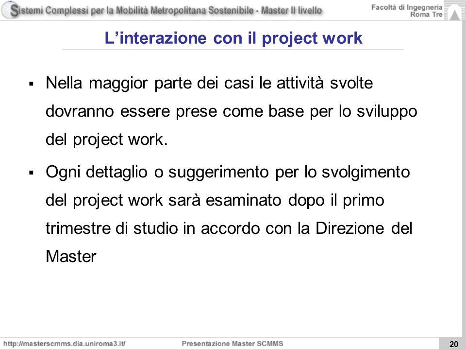 20 Linterazione con il project work Nella maggior parte dei casi le attività svolte dovranno essere prese come base per lo sviluppo del project work.