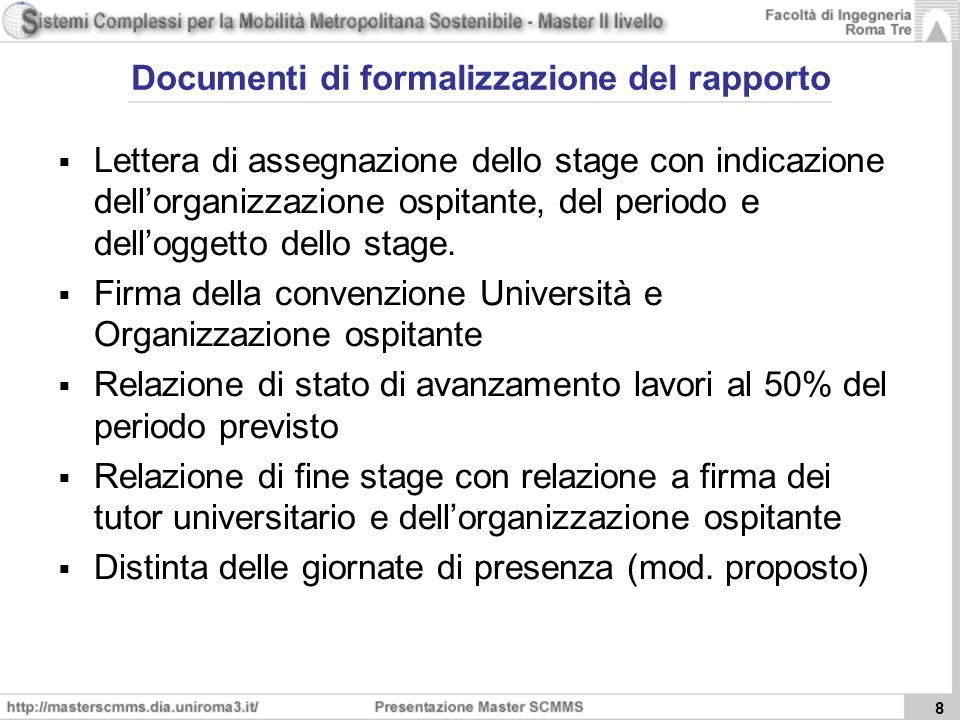 8 Documenti di formalizzazione del rapporto Lettera di assegnazione dello stage con indicazione dellorganizzazione ospitante, del periodo e delloggetto dello stage.