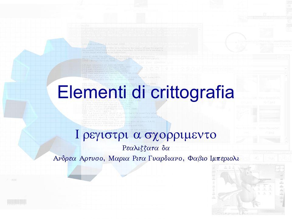 Elementi di crittografia registri a scorrimento Realizzata da Andrea Artuso, Maria Rita Guardiano, Fabio Imperioli