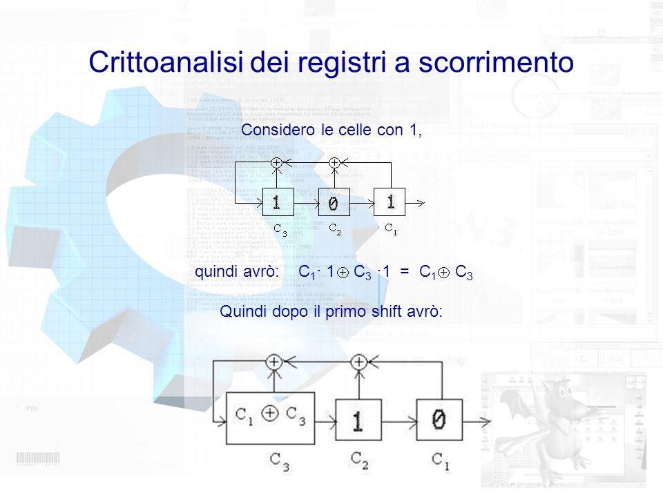 Crittoanalisi dei registri a scorrimento Considero le celle con 1, quindi avrò: C 1 · 1 C 3 · 1 = C 1 C 3 Quindi dopo il primo shift avrò: