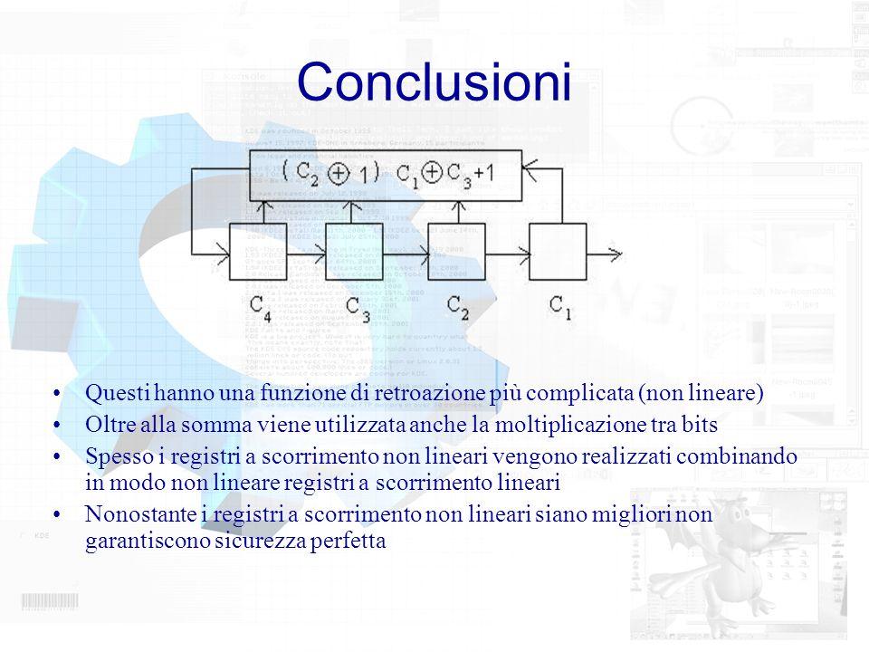 Conclusioni Questi hanno una funzione di retroazione più complicata (non lineare) Oltre alla somma viene utilizzata anche la moltiplicazione tra bits