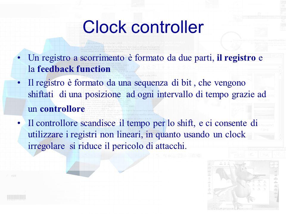 Clock controller Un registro a scorrimento è formato da due parti, il registro e la feedback function Il registro è formato da una sequenza di bit, ch