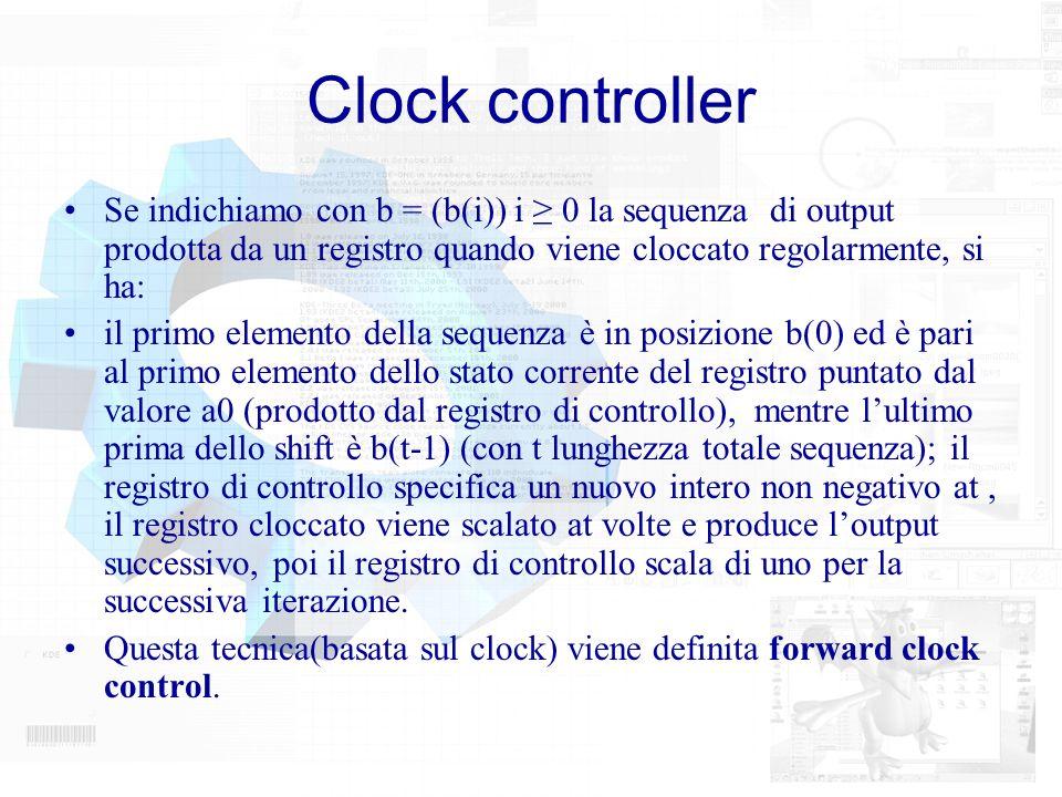 Clock controller Se indichiamo con b = (b(i)) i 0 la sequenza di output prodotta da un registro quando viene cloccato regolarmente, si ha: il primo el