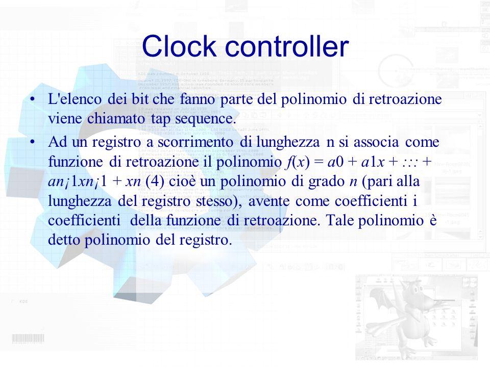 Clock controller L'elenco dei bit che fanno parte del polinomio di retroazione viene chiamato tap sequence. Ad un registro a scorrimento di lunghezza