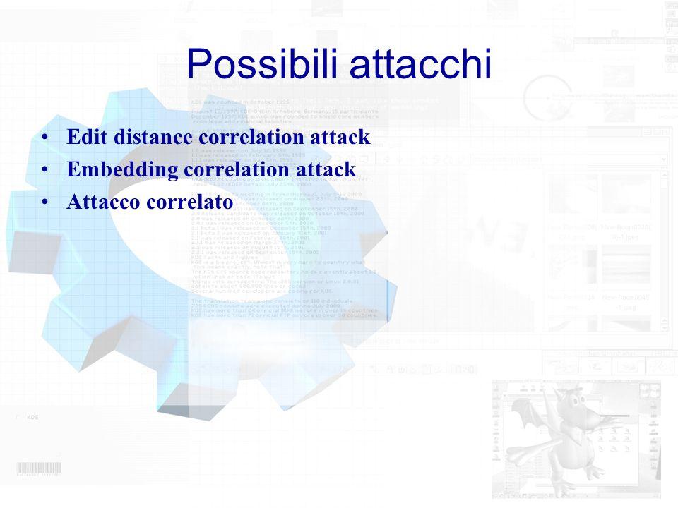 Possibili attacchi Edit distance correlation attack Embedding correlation attack Attacco correlato