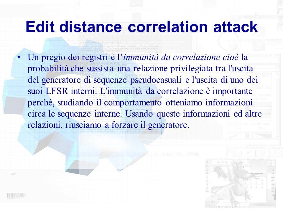 Edit distance correlation attack Un pregio dei registri è limmunità da correlazione cioè la probabilità che sussista una relazione privilegiata tra l'