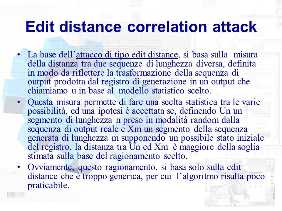 Edit distance correlation attack La base dellattacco di tipo edit distance, si basa sulla misura della distanza tra due sequenze di lunghezza diversa,