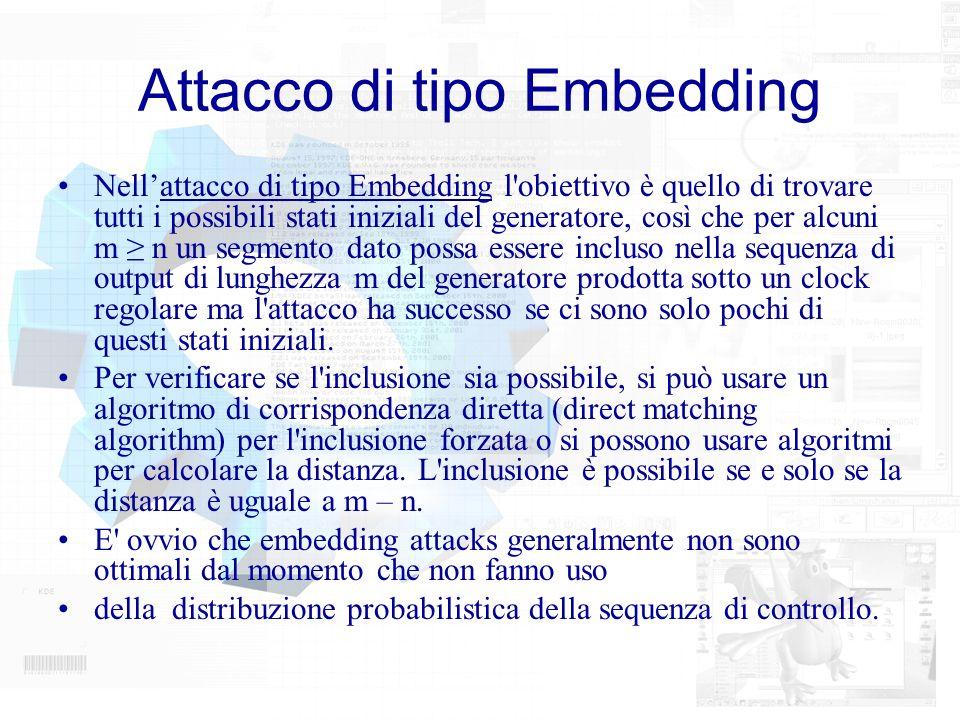 Attacco di tipo Embedding Nellattacco di tipo Embedding l'obiettivo è quello di trovare tutti i possibili stati iniziali del generatore, così che per