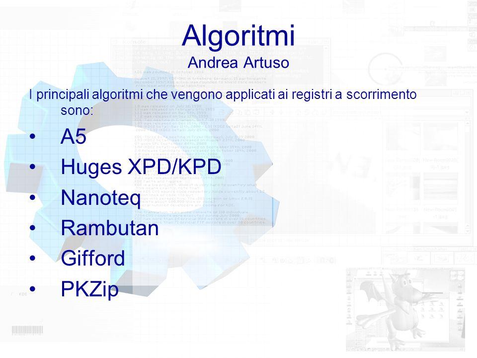 Algoritmi Andrea Artuso I principali algoritmi che vengono applicati ai registri a scorrimento sono: A5 Huges XPD/KPD Nanoteq Rambutan Gifford PKZip
