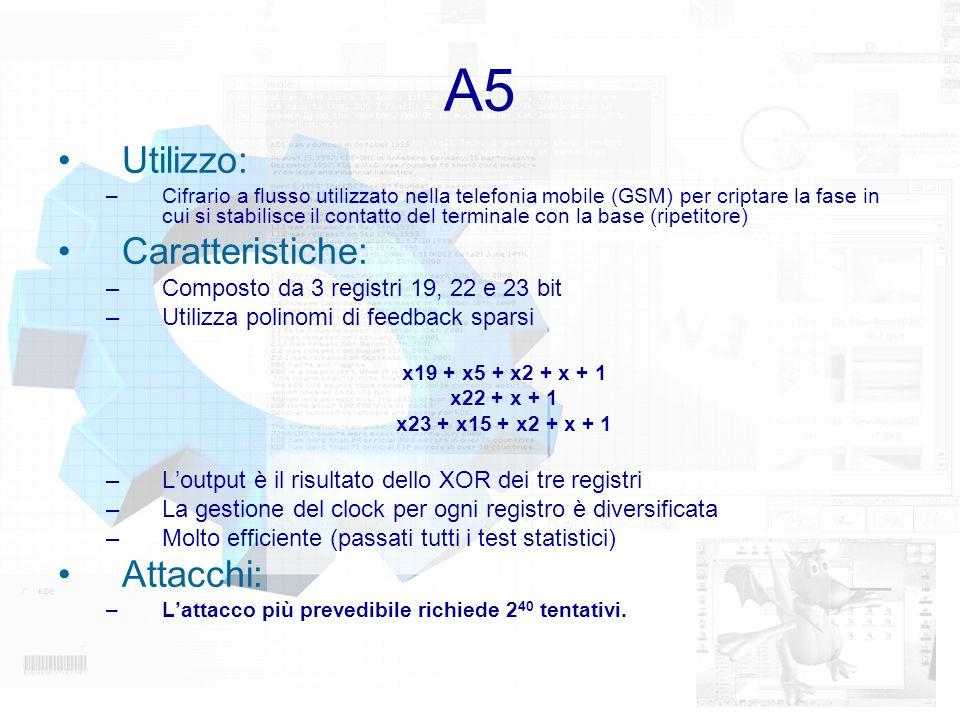A5 Utilizzo: –Cifrario a flusso utilizzato nella telefonia mobile (GSM) per criptare la fase in cui si stabilisce il contatto del terminale con la bas