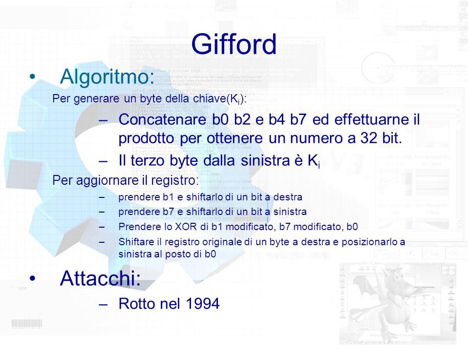 Gifford Algoritmo: Per generare un byte della chiave(K i ): –Concatenare b0 b2 e b4 b7 ed effettuarne il prodotto per ottenere un numero a 32 bit. –Il