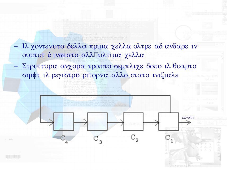 Il contenuto della prima cella oltre ad andare in output è inviato allultima cella Struttura ancora troppo semplice dopo il quarto shift il registro r