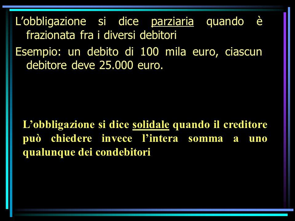 Lobbligazione si dice parziaria quando è frazionata fra i diversi debitori Esempio: un debito di 100 mila euro, ciascun debitore deve 25.000 euro. Lob