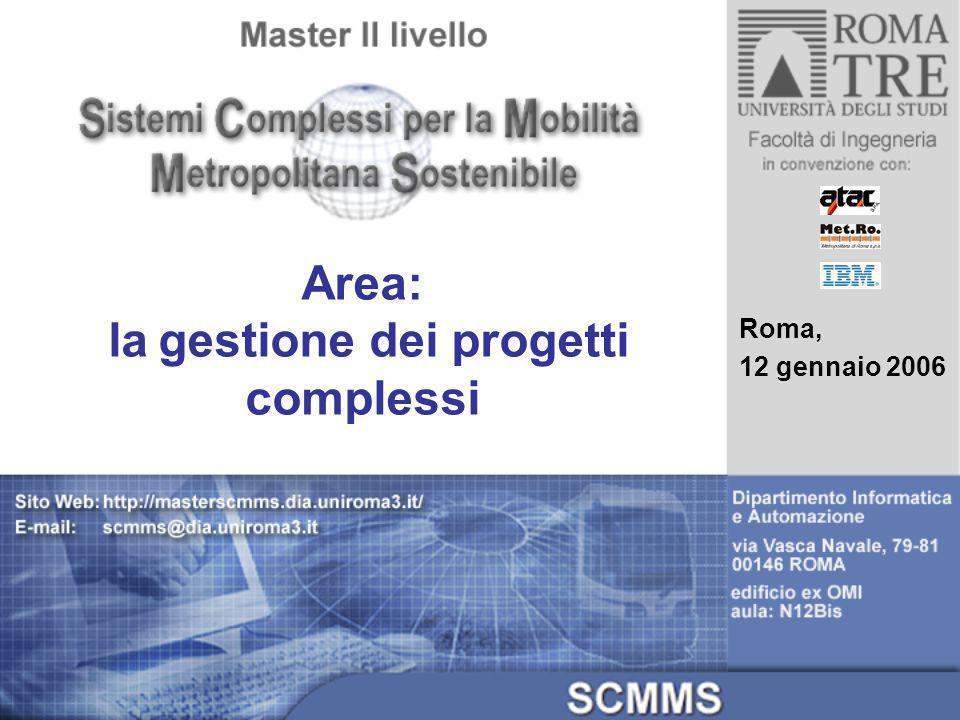 Roma, 12 gennaio 2006 Area: la gestione dei progetti complessi