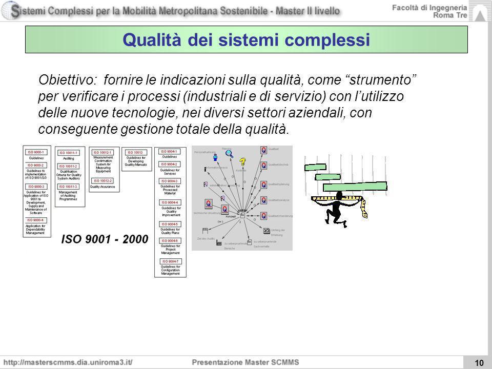 10 Qualità dei sistemi complessi Obiettivo: fornire le indicazioni sulla qualità, come strumento per verificare i processi (industriali e di servizio)
