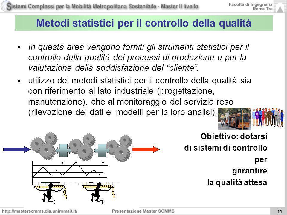 11 Metodi statistici per il controllo della qualità In questa area vengono forniti gli strumenti statistici per il controllo della qualità dei process