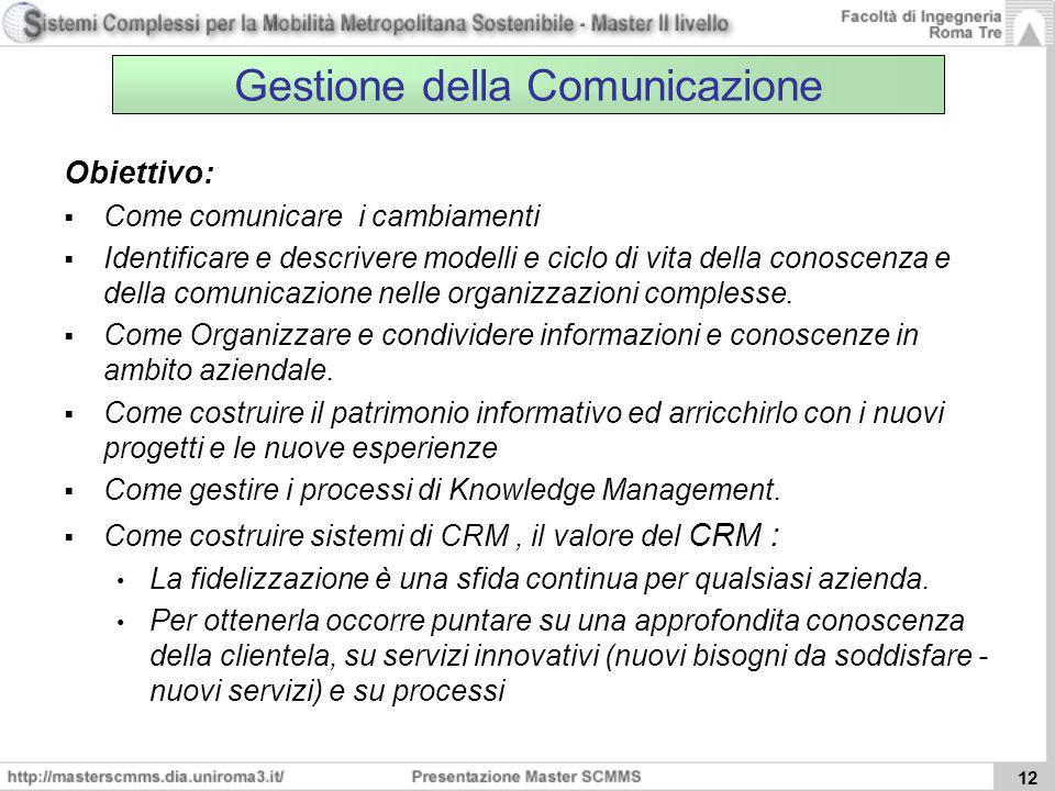 12 Gestione della Comunicazione Obiettivo: Come comunicare i cambiamenti Identificare e descrivere modelli e ciclo di vita della conoscenza e della co