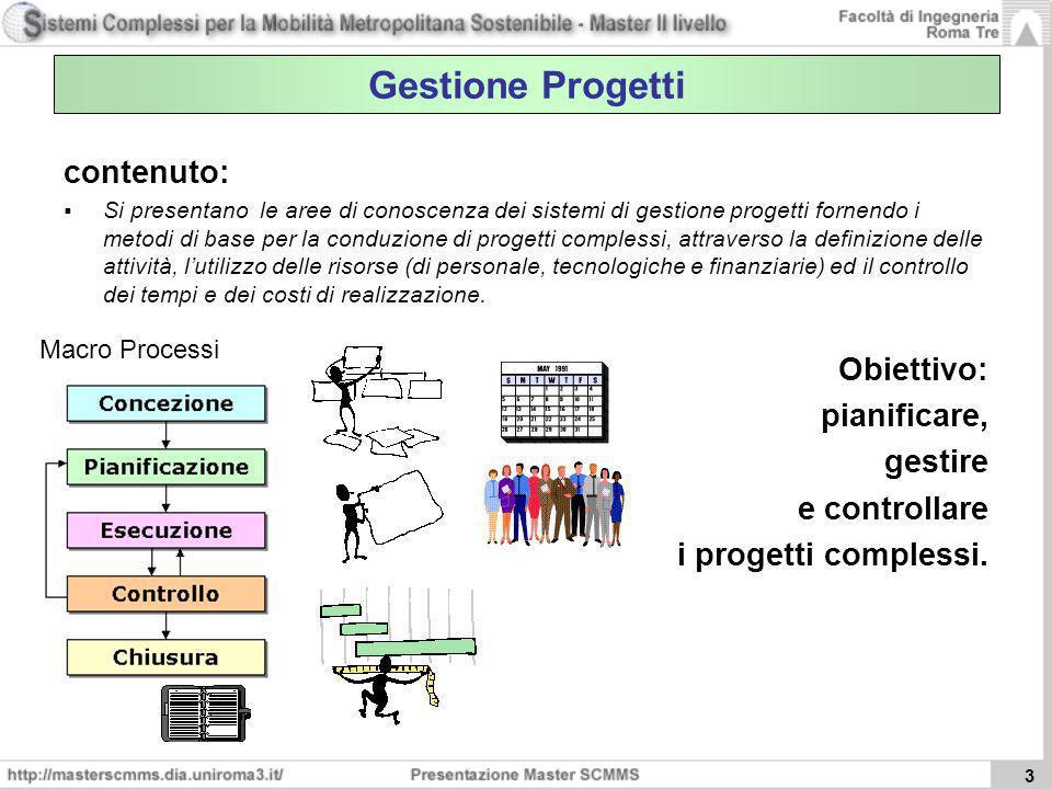 3 Gestione Progetti contenuto: Si presentano le aree di conoscenza dei sistemi di gestione progetti fornendo i metodi di base per la conduzione di pro